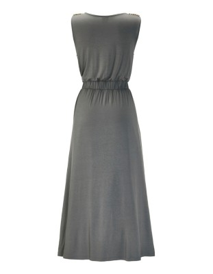 Sleeveless maxi dress with cord detail