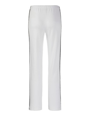 Trousers with snakeskin print side stripes