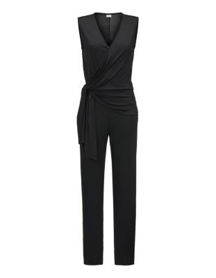 Sleeveless wrap-front jumpsuit