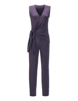 Sleeveless wrap-front jumpsuit