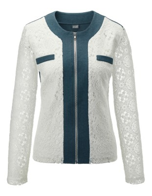 Lace-sleeved jacket