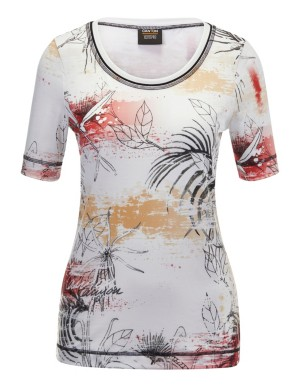 Printed T-shirt with contrasting flatlock seams, CANYON