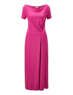Dress with waterfall neckline and knot draping