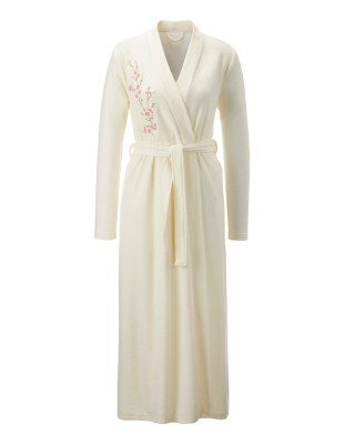 Embroidered kimono-style dressing gown