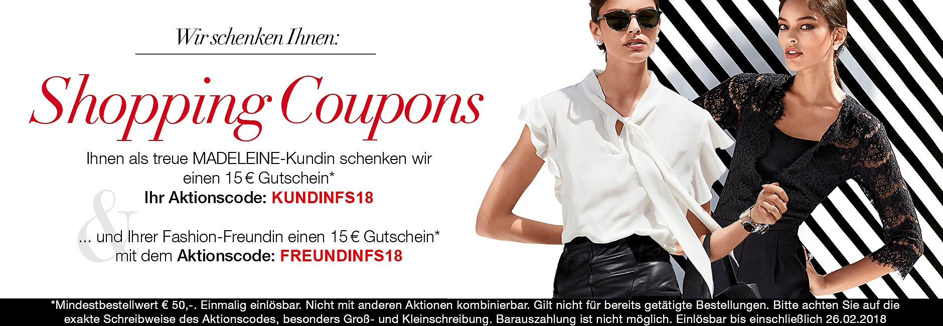 Shopping Coupons für Sie und Ihre Freundin