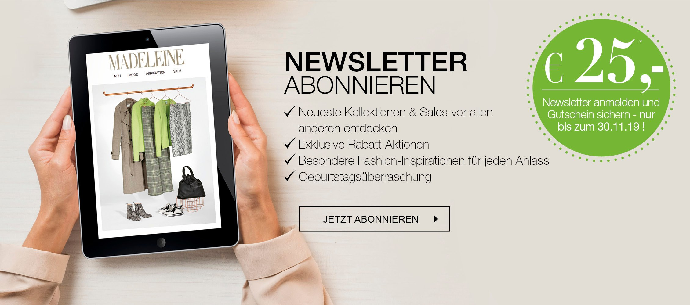 EUR 25 Gutschein für Anmeldung zum Newsletter