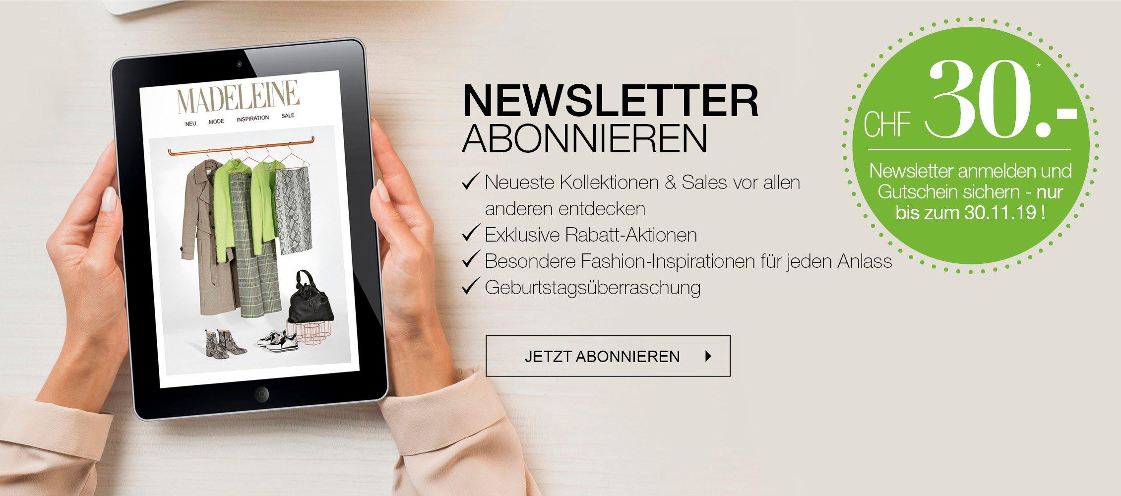 CHF 30 Gutschein für Anmeldung zum Newsletter