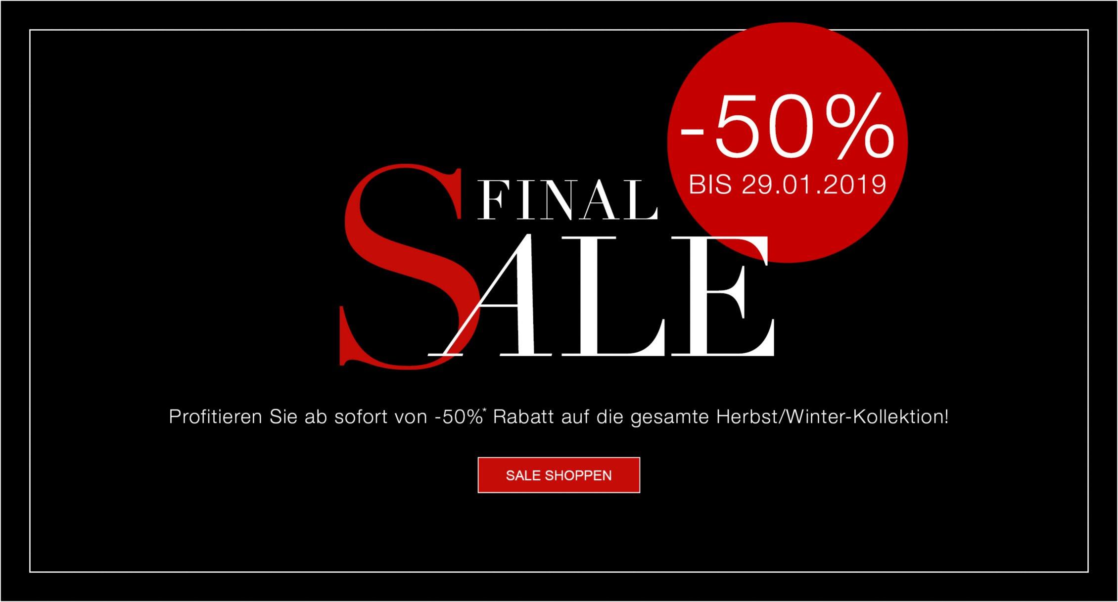 -50% Rabatt auf die gesamte Herbst/Winter-Kollektion